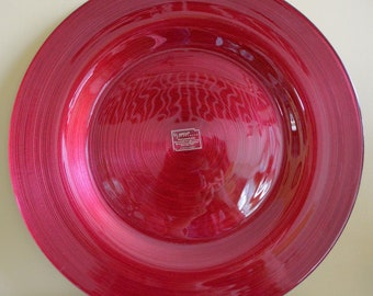 "ARDA Glassware Hand painted glass Moroccan Decorative RED Plate 19"" Made in Turkey"