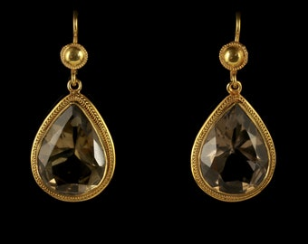 Smoky Quartz Drop Earrings 18ct Gold on Silver