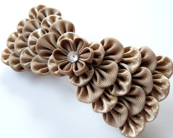 Kanzashi fabric flower french barrette.  Tan barrette. Tan bow hair piece. Beige bow clip.