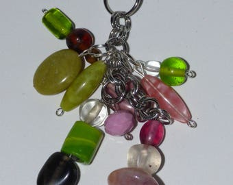 Boho Multi- Cluster Dangle Beaded Pendant- Greens and Pinks