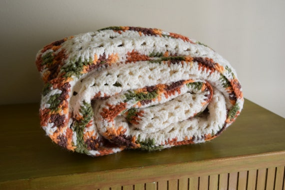 Vintage Handmade Off White Harvest Crocheted Throw Blanket ~ Bohemian, Boho Home, Rustic