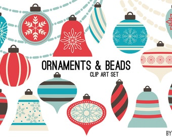 Christmas Clipart Ornaments Turquoise Blue Coral Swag Bead Holiday Commercial Use Graphics Digital Clip Art Digital Images Royalty Free PNG