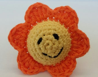 Bright Orange Spring Smiley Flower Baby Rattle