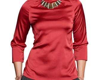 Silk High Neck Blouse Red