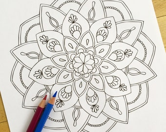 "Mandala ""Exotic"" - Hand Drawn Adult Coloring Page Print"