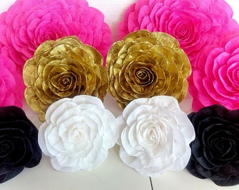 10 large paper flowers giant flowers wall party bridal shower pink gold white black kate shower spade baby flower wedding bakdrop nursery