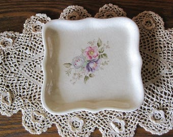 Soap Dish, Ivory Ceramic Dish with Flowers