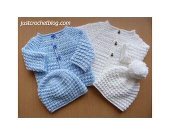 Crochet Baby Glitz Coat and Hat Baby Crochet Pattern (DOWNLOAD) 159BFJC