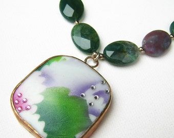 Ming Pottery Shard Necklace Shard Necklace Green Broken Pottery Porcelain Pendant Recycled China Jewelry Repurposed Jewelry Gift Idea