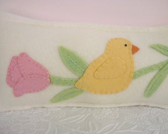 Pillow Felt Easter Chick Tulip Applique Penny Rug Decorative Primitive Felted Wool