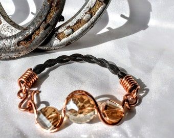 Horsehair freeform copper with wire wrapped golden glass beads