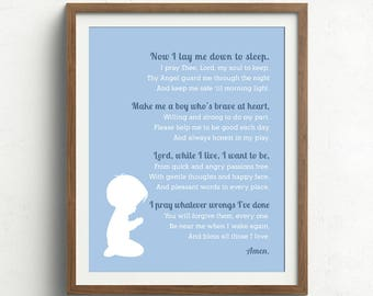 Bedtime Prayer Print with Silhouette, Now I Lay Me down to Sleep, Nursery Prayer Print, Christening Gift, Baptism Gift, Religious, Baby Gift