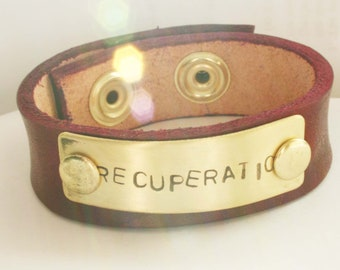 Recuperatio Latin recovery leather and brass bracelet 8-9 inch wrist