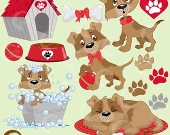 Puppy Dog Clipart, Dog clip art, Animal Clipart, Pet Clipart, Dog House, Dog Dish, Dog in Bath, Commercial Use, AMB-594