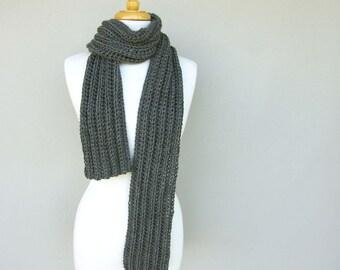 Men's Gray Knit Scarf - Boyfriend Gift Idea - Man scarf - Long Grey Winter Scarves