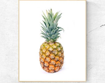 Pineapple Print, Tropical Fruit Wall Art, Large Poster, Kitchen, Contemporary Photography, Modern Minimalist, Printable Digital Download
