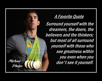 """Inspirational Swimming Motivation Poster, Photo Quote Wall Art, Gift, Kids, Swim Wall Decor, Home, Bedroom, Office Michael Phelps 5x7 11x14"""""""