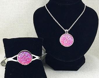 Pink Druzy Jewelry Set - Druzy - Necklace and Bracelet Set - Druzy Necklace - Druzy Bracelet - Druzy Jewelry - Bridesmaid Jewelry Set - Pink