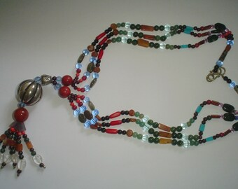Necklace vintage multistrand garnet adventurine coral turquoise and more!