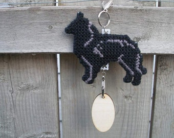 Belgian Sheepdog crate tag dog hang anywhere, kennel sign decor hand stitched original art by canine artisan, Magnet Option