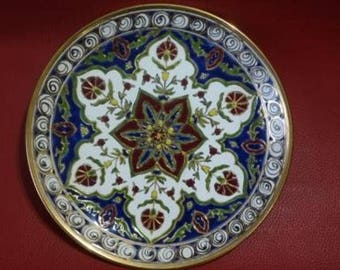 Vintage Ceramic Plate Rodos, Relief 24 Gold, Rhodes Ceramic, Rhodes Pottery