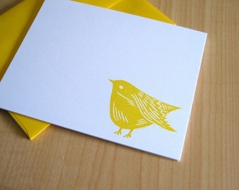 Sweet Yellow Bird - Yellow Bird Stationery - Bird Note Cards - Hand Printed Flat Notes - Set of 6