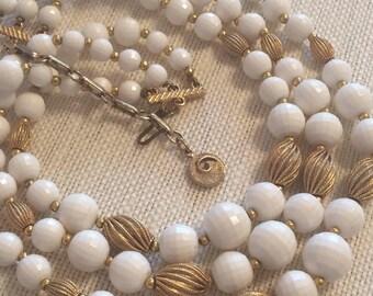 Vintage White Disco Ball and Goldtone Beaded Triplestrand Choker