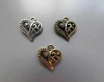 Heart charm pendant 3 colours to choose