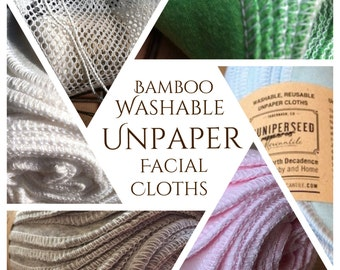 "Organic BAMBOO Alternative to Facial Tissues 8"" x 5"" Minis - You Pick Color and Quantity - Bonus Mesh Wash Bag"