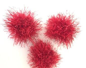 Sparkly Red Ball Cat Toys, Set of 3, Knitted Balls, Catnip, Valerian, Silver Vine, Kitten Play, Catnip Sparkle Balls, Kitten Ball Toys