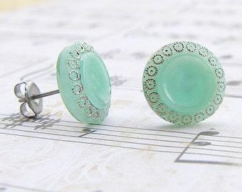Seafoam - vintage glass button stud earrings