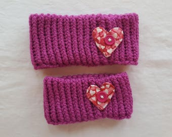 Knitted Neckwarmer - Pink with Heart Decoration