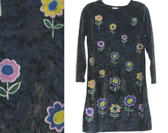 Flower Power Crushed velvet babydoll dress 90s vintage clueless