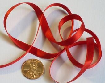 "1/4"" Silk Satin Double Face Ribbon, Christmas Red Ribbon"