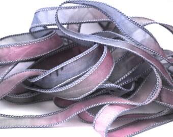 Hand dyed silk ribbon- habotai- silk wrap- silk wrap bracelet-satin-grey-lavender-pink