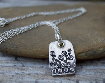 Flower Box Sterling Silver Necklace . Flowers . Nature . Sterling Necklace.Rustic. Necklace.