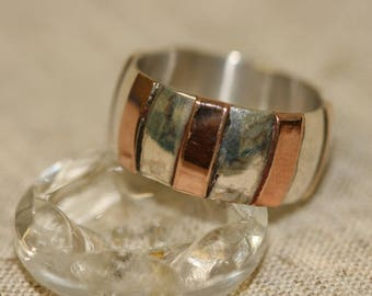 Gold Stripes Ring, Silver Ring, Silver Rings, Silver and Gold Ring, Wedding Ring, Silver Band with Rose Gold