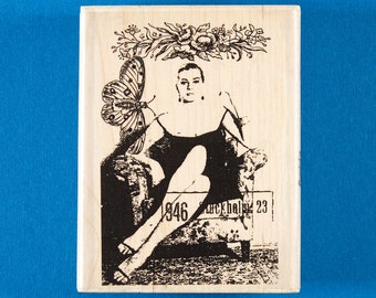 Femme Fatale Rubber Stamp - Collage Art, Woman with Butterfly - Stampington & Company #K5530