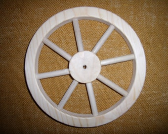"""Handcrafted 8""""  wooden wheel with 8 spokes.Part No. 1401-E"""