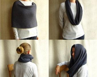 4 way knit wrap infinity scarf cowl hoodie in indigo blue
