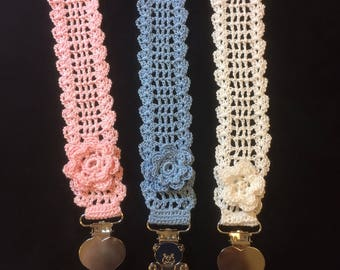 Crochet Baby Pacifier Clip/Holder..Victorian Style Pacifier Holder..Irish Rose..Original Design