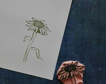 Echinacea rubber stamp, mounted