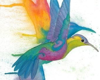 """Rainbow Hummingbird in Flight - 18""""X12"""" Poster Print"""