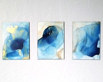 SALE Abstract Watercolor Painting, Original Painting, Blue and Gold