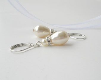 Ivory Pearl Earrings, Pearl and Crystal Teardrop Earrings, Cream Pearl and Sterling Earrings, Bridesmaid Gift, Bridal Jewelry, Mother's Day