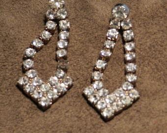 Vintage Rhinestone Earrings with Posts           00603