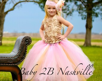 Vintage Dress Gold Dress Wedding Dress Pink Dress Flower Girl Dress Tulle Dress Tutu Dress Party Dress Baby Dress Toddler Dress Girls Dress