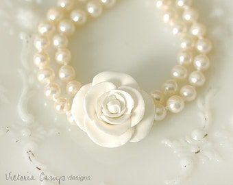 Hand Knotted Pearl Bridal Bracelet with White Rose, Double Strand with Sterling Silver Clasp, Hand Formed Clay Rose
