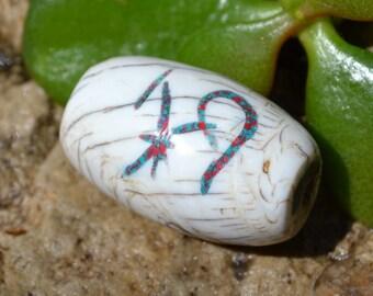 Naga shell pendant bead with turquoise & coral inlay  SH151