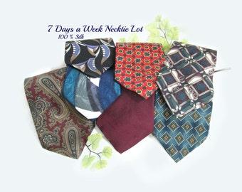 vintage tie lot, suit tie, gift for him, wide tie, 7 Ties,      # 22